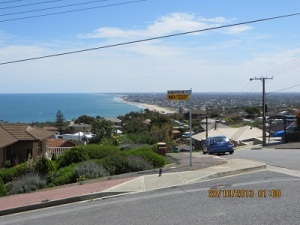 View looking North, Adelaide Coast and power lines