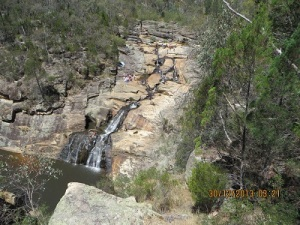 Woolshed Falls: people enjoying the waterhole