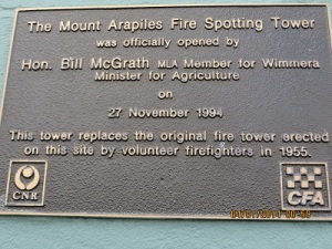 The dedication plaque for Fire Service lookout