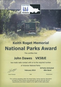 Keith Roget Memorial National Parks Award - activator