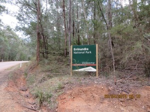 The Welcome sign for Errinundra NP