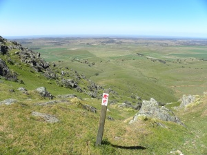 View from Mount Bryan: Heysen Trail marker in foreground JCD photo