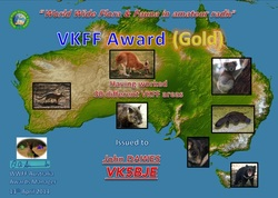 Gold Hunter Certificate VK5BJE
