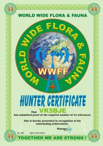 WWFF Hunter Certificate 44 references