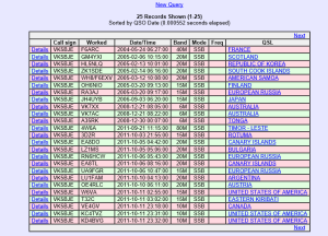 Typical LOTW page showing confirmed contacts