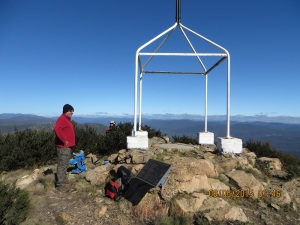 The Trig Point at Mt Coree.