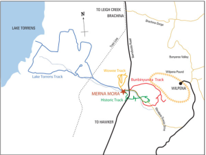 Map of drive to Lake Torrens NP from Merna Mora Station courtesy of Merna Mora