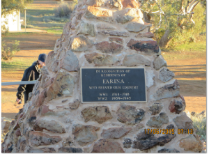 The new War Memorial at Farina