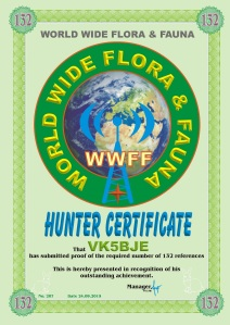 WWFF Hunter Certificate for working 132 references