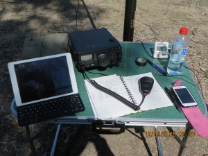 My gear at MRNP. I used my I-Pad to access the internet & post my intentions etc. I am sure it helped me get 44+!
