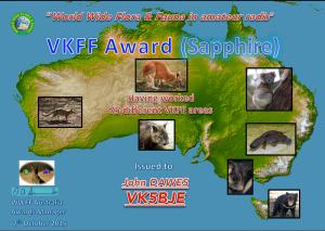 VK5BJE Sapphire award 2015