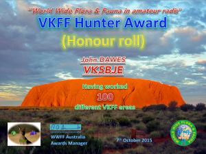 VK5BJE Hunter 100 2015