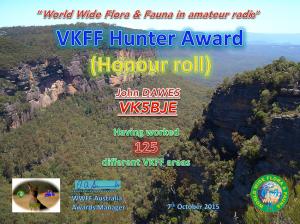 VK5BJE Hunter Honour Roll 125 2015