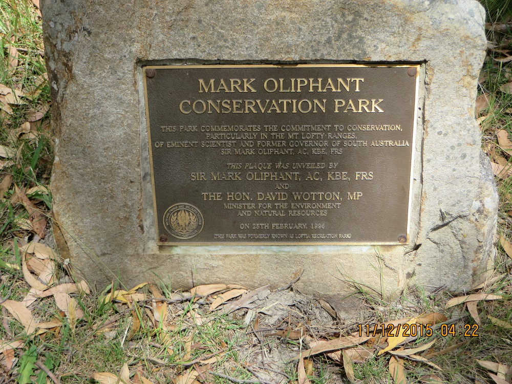 Dedication Plaque Mark Oliphant CP 2015