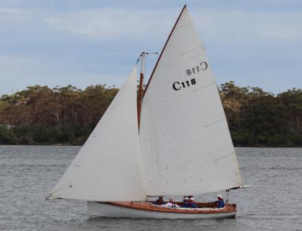 Gaff rigged sail boat