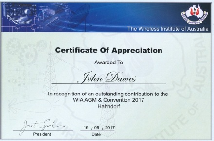 WIA Certificate of Appreciation