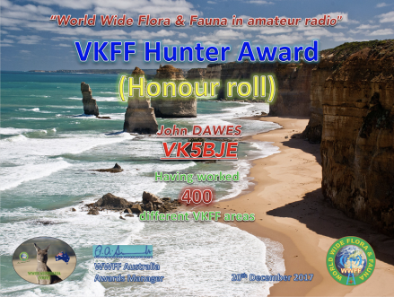 VK5BJE VKFF Hunter Honour Roll 400 version 1