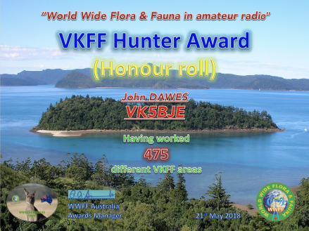 VK5BJE VKFF Hunter Honour Roll 475